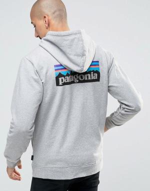 Patagonia Серое классическое худи на молнии с логотипом P6. Цвет: серый