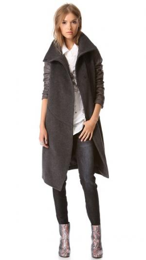 Leather Sleeve Trench Coat Tess Giberson. Цвет: голубой