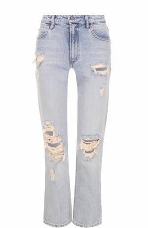 Укороченные расклешенные джинсы с потертостями Denim X Alexander Wang. Цвет: голубой