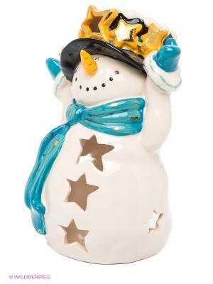 Подсвечник Снеговик Blue Sky. Цвет: светло-бежевый, желтый, черный, морскаяволна
