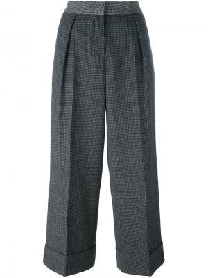 Укороченные широкие брюки в клетку IM Isola Marras I'M. Цвет: чёрный