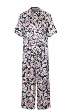 Шелковая пижама с принтом Olivia Von Halle. Цвет: разноцветный