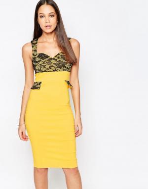 Vesper Платье-футляр с кружевными вставками и вырезом сердечком. Цвет: желтый