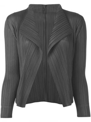 Pleated open front cardigan Pleats Please By Issey Miyake. Цвет: серый