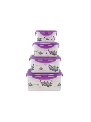 Набор контейнеров квадратных 4 пр (2900 мл, 1850 1100мл, 680 мл) Фиолетовый PATRICIA. Цвет: фиолетовый