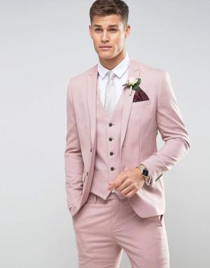 River Island Розовый пиджак скинни. Цвет: розовый