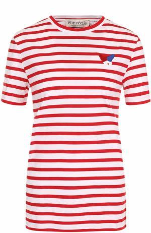 Хлопковая футболка в контрастную полоску Etre Cecile. Цвет: красный