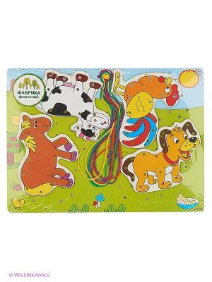 Деревянная игрушка шнуровка Животные Фабрика Фантазий. Цвет: зеленый