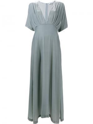 Бархатное платье Hayden Ganni. Цвет: синий
