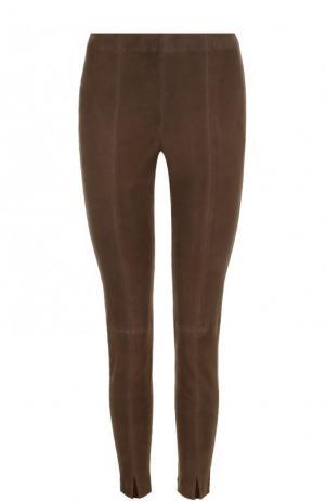 Укороченные замшевые брюки-скинни St. John. Цвет: коричневый