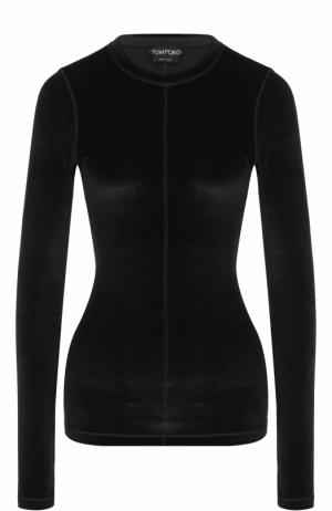 Бархатный приталенный пуловер Tom Ford. Цвет: черный
