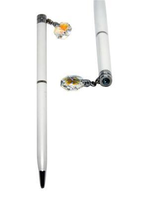 Ручка с кристаллом CRYSTOCRAFT. Цвет: серебристый, белый
