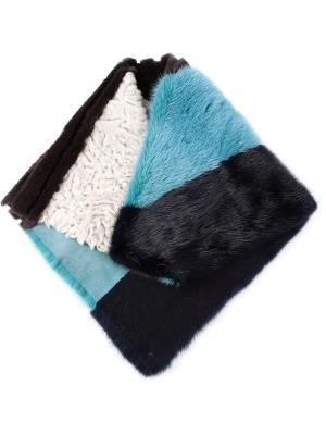 Полосатый шарф в стиле колор-блок Liska. Цвет: синий