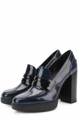 Лаковые туфли с перемычкой Tod's. Цвет: синий