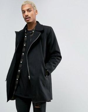 Criminal Damage Пальто с добавлением шерсти Nuckie. Цвет: черный