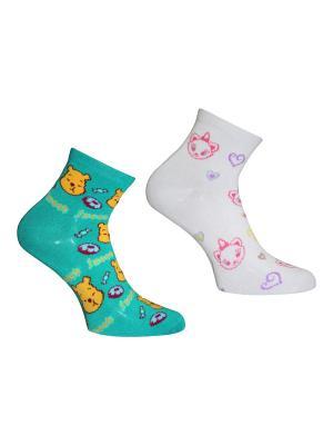 Носки 2 пары Master Socks. Цвет: белый, бирюзовый