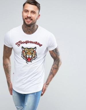 Good For Nothing Белая футболка с вышитым тигром. Цвет: белый