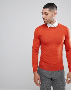 ASOS Оранжевый обтягивающий джемпер из мериносовой шерсти. Цвет: оранжевый