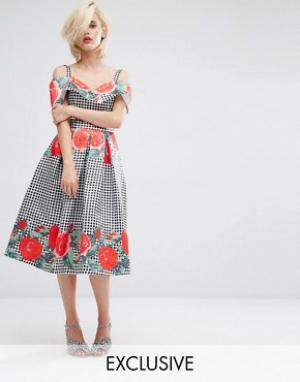 Horrockses Платье миди с открытыми плечами и принтом. Цвет: мульти
