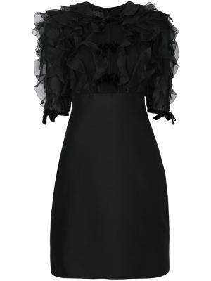 Приталенное платье с оборками Giambattista Valli. Цвет: чёрный