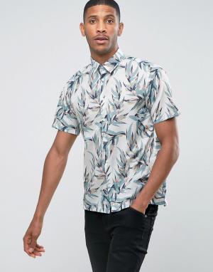 Jack & Jones Рубашка с короткими рукавами и сплошным принтом листьев O. Цвет: кремовый