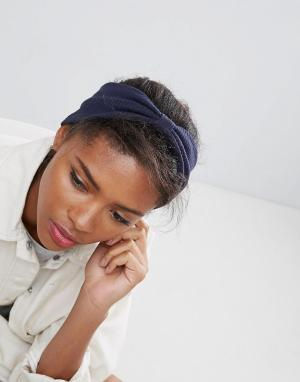 ASOS Трикотажная перекрученная повязка на голову в рубчик ограниченной сери. Цвет: синий