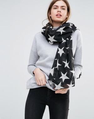 Becksondergaard Черно-белый шарф со звездами. Цвет: черный