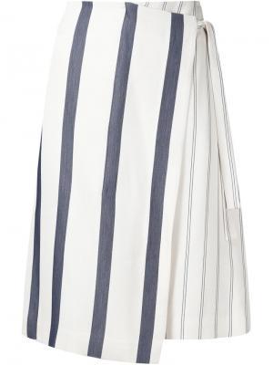 Полосатая юбка с запахом Grey Jason Wu. Цвет: белый