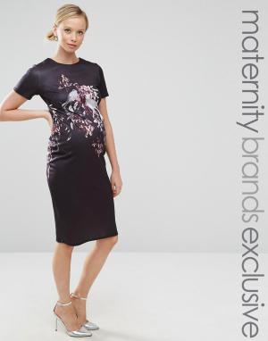 Hope and Ivy Maternity Облегающее платье миди для беременных с короткими рукавами и принтом п. Цвет: серый