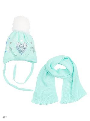 Комплект шапка и шарф Agbo. Цвет: светло-зеленый