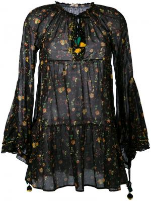 Платье с расклешенными рукавами и цветочным принтом Anjuna. Цвет: чёрный