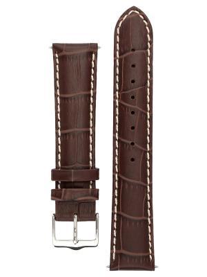 Ремешок для часов с контрастной строчкой из теленка фактурой под аллигатора. Ширина от 14 до 24 мм Signature. Цвет: темно-коричневый