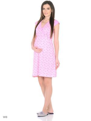 Сорочка женская для беременных и кормящих Hunny Mammy. Цвет: розовый, малиновый