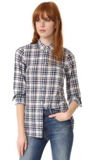 Облегающая рубашка в мужском стиле клетку Madewell. Цвет: синий