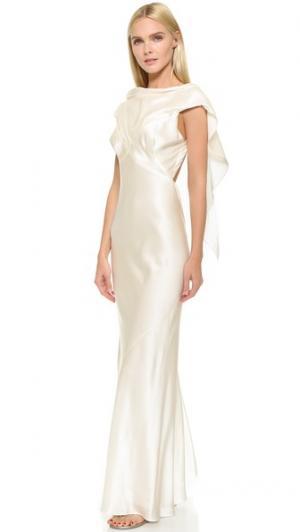 Шелковое вечернее платье Zac Posen. Цвет: фарфоровый