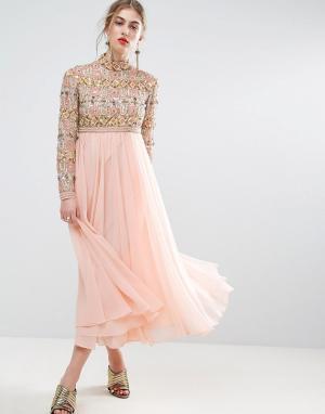 ASOS Приталенное платье миди с высокой горловиной и длинными рукавами. Цвет: розовый