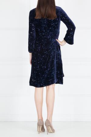Платье из вискозы и шелка The Row. Цвет: синий