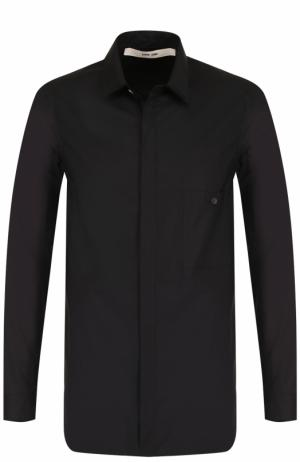 Хлопковая рубашка с воротником кент Damir Doma. Цвет: черный