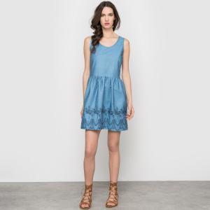 Платье с вышивкой без рукавов PEPALOVES. Цвет: синий деним