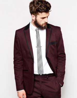Guide London Приталенный бордовый пиджак с лацканами. Цвет: burgundy