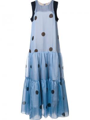 Длинное платье с рисунком в горох Natasha Zinko. Цвет: синий