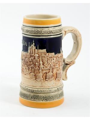 Пивная кружка коллекционная Прага BURGER. Цвет: коричневый, оранжевый, темно-бежевый