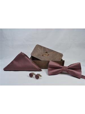 Подарочный набор: бабочка, запонки, нагрудный платок Churchill accessories. Цвет: красный