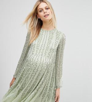 ASOS Maternity Приталенное платье для беременных. Цвет: зеленый