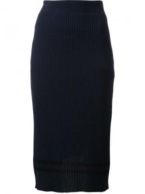 Полосатая юбка в рубчик Muveil. Цвет: синий