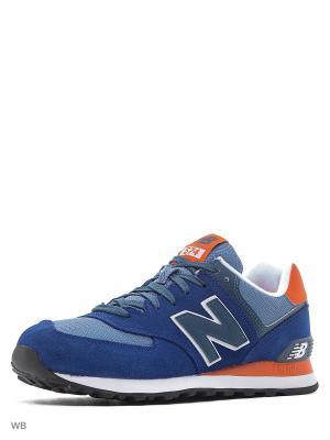 Кроссовки New Balance 574. Цвет: лазурный, оранжевый