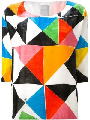 Бархатный топ с геометрическим принтом Ingie Paris. Цвет: многоцветный