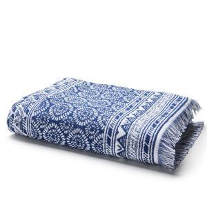 Полотенце махровое с жаккардом 500  г/м² AZUL La Redoute Interieurs. Цвет: синий/ белый