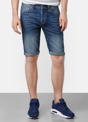 Джинсовые шорты с декоративной стиркой OSTIN. Цвет: синий