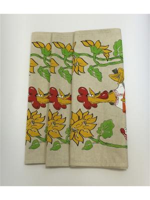 Набор-полотенец, 3 шт A and C Collection. Цвет: бежевый, красный, желтый